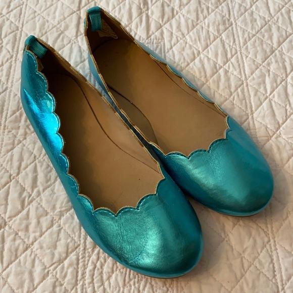 Gymboree Teal Scallop Edge Ballet Flats